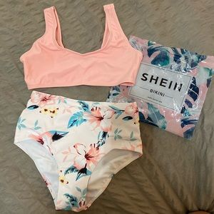 Shein Women's Pink & Tropical Floral High Waisted